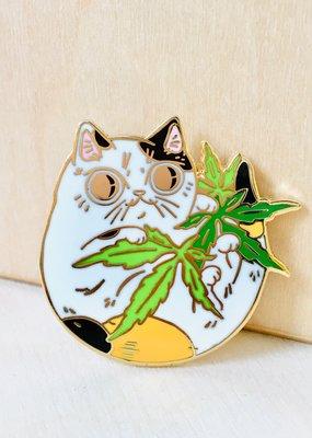 Paper Puffin Enamel Pin Cannabis Calico