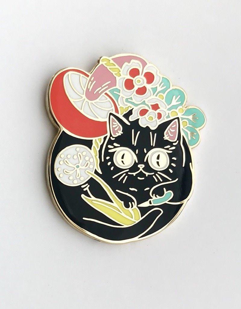 Paper Puffin Enamel Pin Curious Nature Cat
