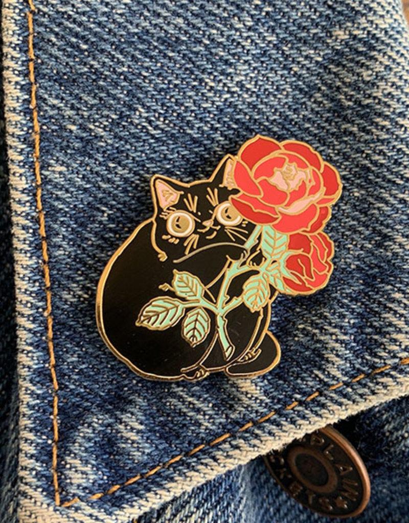 Paper Puffin Enamel Pin Rose Kitty Black
