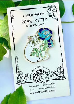 Paper Puffin Enamel Pin Rose Kitty White