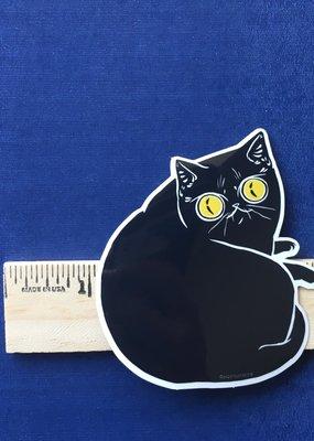 Paper Puffin Sticker Black Cat