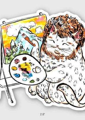 Paper Puffin Sticker Bob Ross Cat