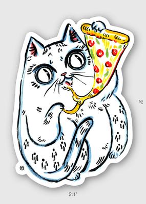 Paper Puffin Sticker Pizza Cat