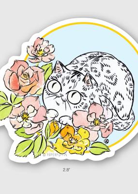 Paper Puffin Sticker Rose Cat