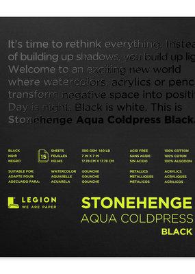 "Legion Paper Stonehenge Aqua Coldpress Black 7"" x 7"""