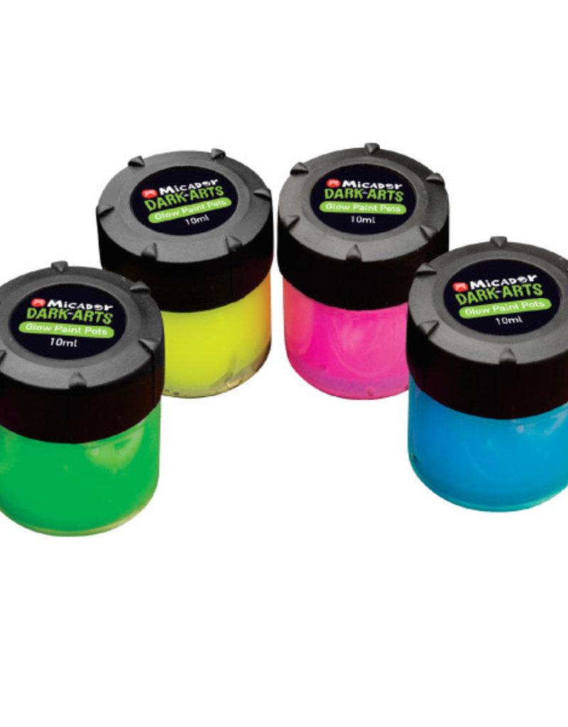 Micador Dark Arts Glow Paint Pots 4 Color Set