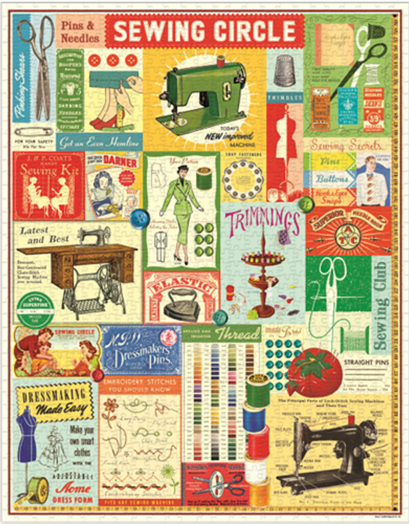 Cavallini 1000 Piece Jigsaw Puzzle Sewing