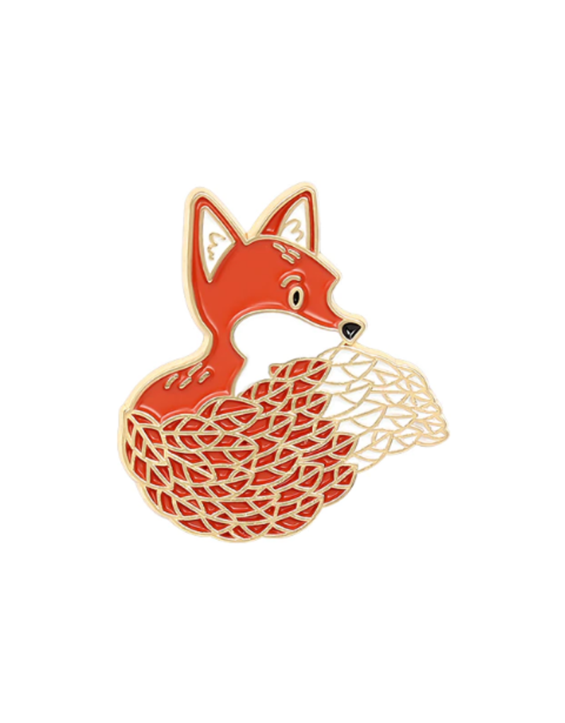 collage Enamel Pin Forest  Fox