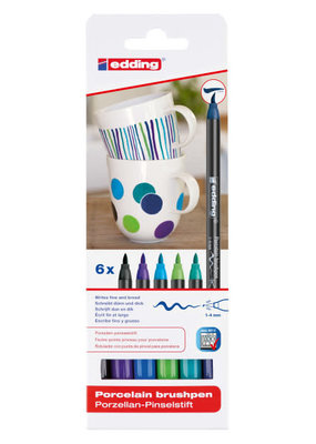 edding Porcelain Brush Pen 6 Cool Color Set