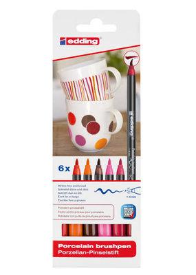 edding Porcelain Brush Pen 6 Warm Color Set