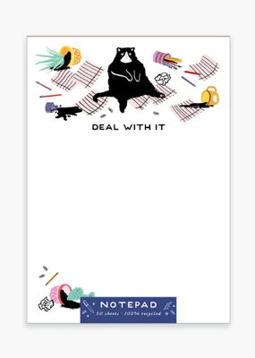 Party of One Notepad Deal With It Cat