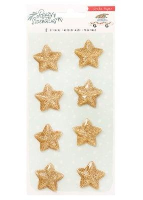 American Crafts Stickers Busy Sidewalks Glitter Resin Stars