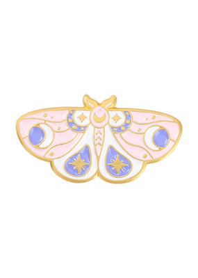 collage Enamel Pin Pink and Blue Moth
