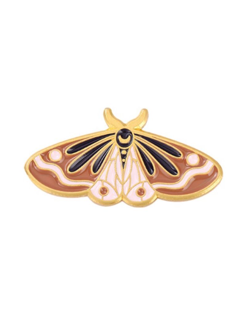 collage Enamel Pin Brown and Pink  Moth