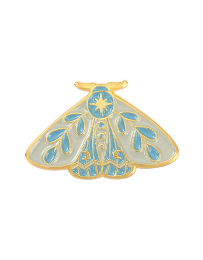 collage Enamel Pin Light Blue Moth