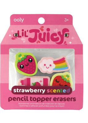 Ooly Lil' Juicy Strawberry Scented Pencil Topper Eraser Set