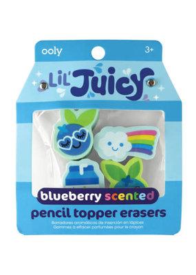 Ooly Lil' Juicy Blueberry Pencil Topper Eraser Set
