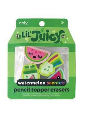 Ooly Lil' Juicy Watermelon Pencil Topper Eraser Set