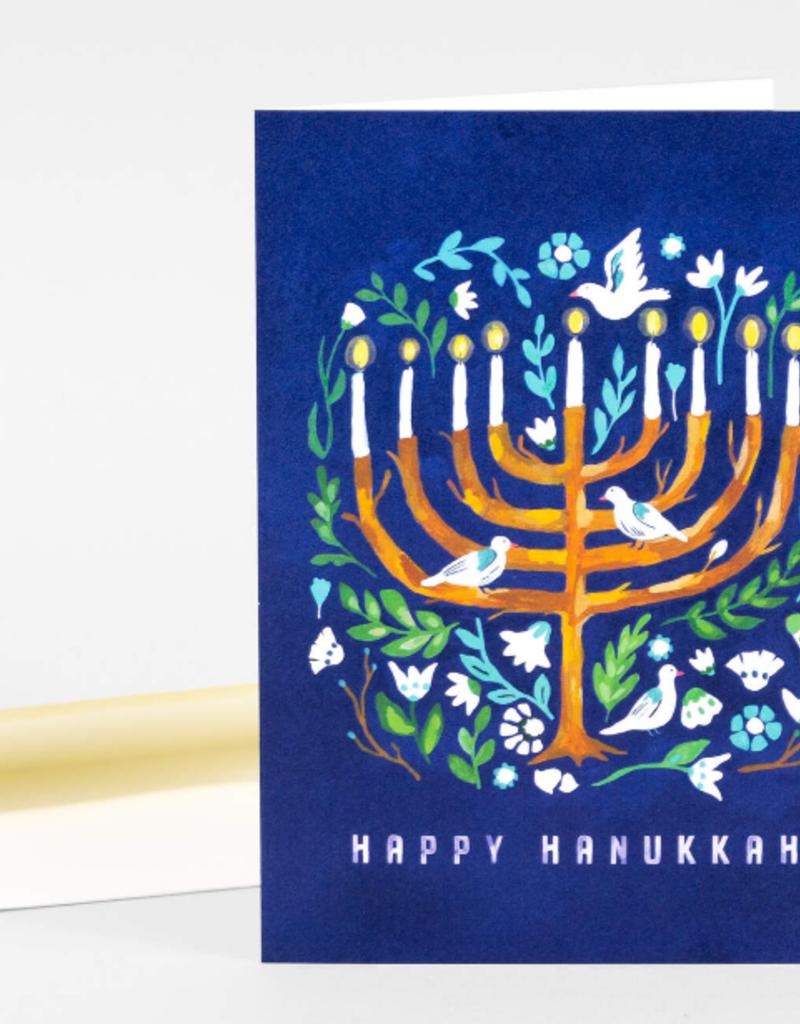 Loose Leaves Paper Goods Card Happy Hanukkah Menorah