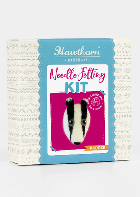 Hawthorn Handmade Needle Felting Kit Badger Brooch