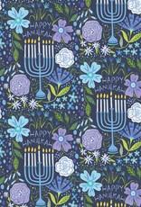 Jillson & Roberts Gift Wrap Roll Floral Menorah