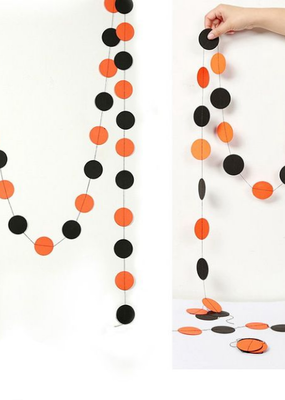 collage Paper Banner Orange and Black Dots 13 Feet