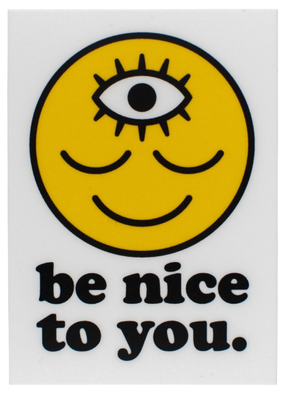 Wokeface Sticker  Be Nice to You Rectangle