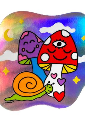 Wokeface Sticker Cosmic Mushrooms Holographic
