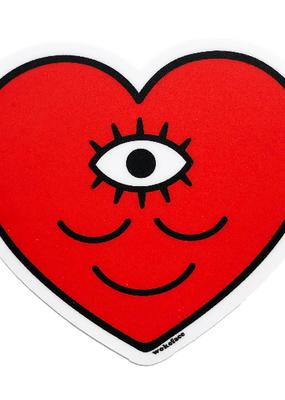 Wokeface Sticker Smiley Third Eye Red Heart