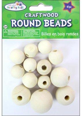 Multicraft Assorted Round Wood Beads