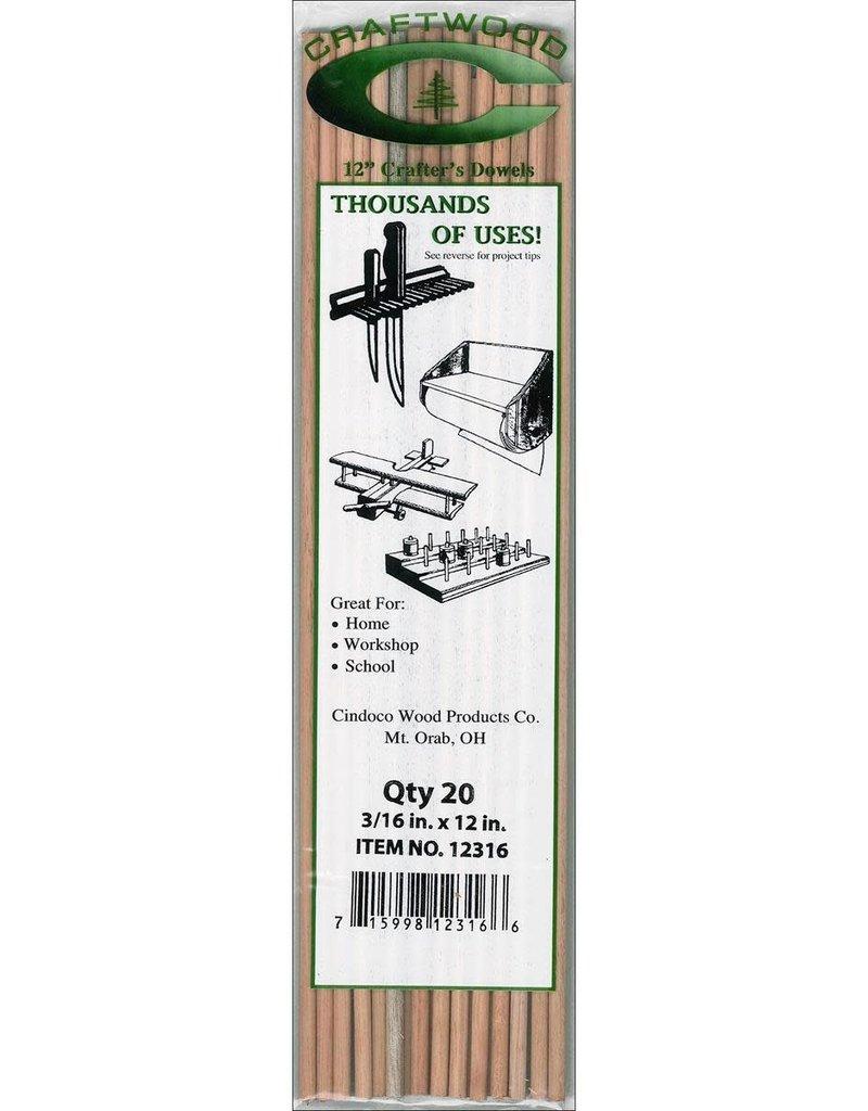 Cindoco Wood Dowel Pkg 12 x 3/16 Inch 20 Pieces