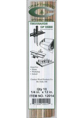 Cindoco Wood Dowel Package 12 x 1/4 Inch 10 Pieces