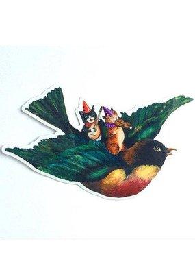 Jahna Vashti Sticker Musical Kitties on Robin's back