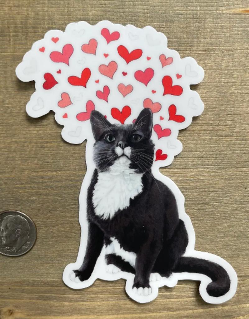 Amy Rose Moore Illustration Sticker Loving Tuxedo Cat