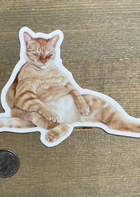 Amy Rose Moore Illustration Sticker Snoozy Orange Tabby Cat