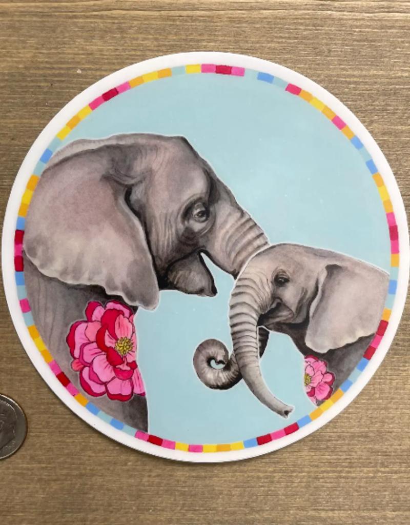 Amy Rose Moore Illustration Sticker Elephant Mama and Baby