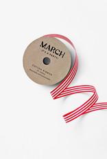 march 100% Cotton Ribbon Red & White Stripe