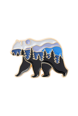 collage Enamel Pin Forest Bear