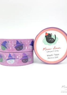 Meow Amor Creative Washi Witch Cat