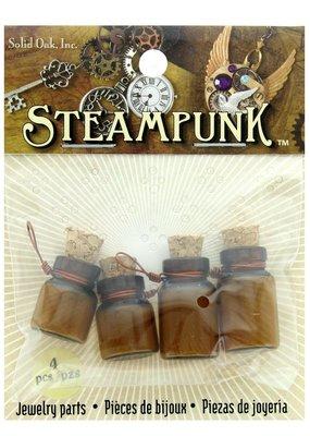 Solid Oak Steampunk Poison Bottles