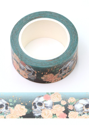 collage Washi Skull With Flowers