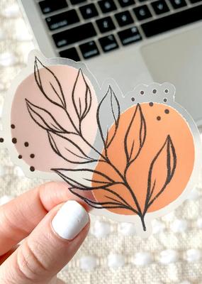 Elyse Breanne Design Sticker Clear  Pink Leaves