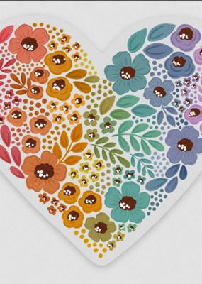 Elyse Breanne Design Sticker Clear Pride Rainbow Floral Heart