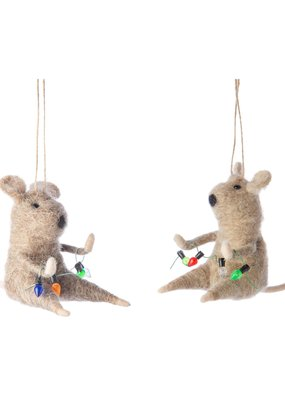 Silver Tree Holiday Felt Ornament Mouse with Christmas Lights