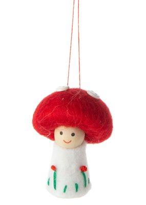 Silver Tree Holiday Mushroom Girl Ornament