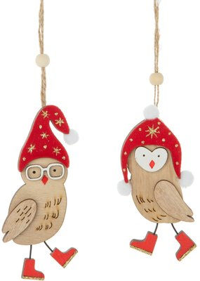 Silver Tree Holiday Flocked Wood Owl Ornament