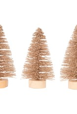 Silver Tree Holiday Gold Glittered Bristle Tree