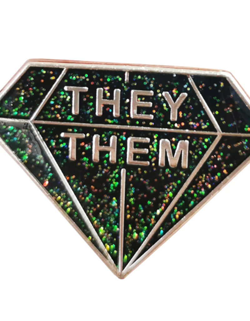 collage Enamel Pin They Them Diamond