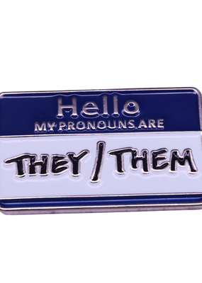 collage Enamel Pin Hello They Them
