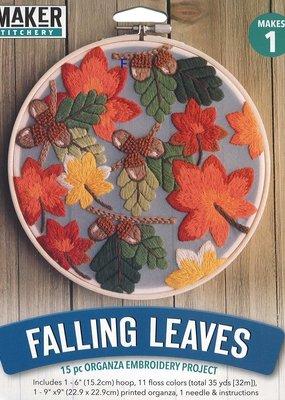 Leisure Arts Embroidery Kit Falling Leaves